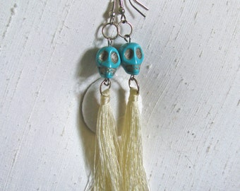 Turquoise Howlite Skull Beads with Dangling Silk Tassels ~ Halloween ~ Dia de los Muertos Earrings
