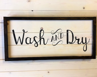 Wash and Dry Sign | Farmhouse Wall Decor | LAUNDRY Sign | Painted Wood Sign | Rustic Laundry Room Decor | Laundry | A Simple Impression