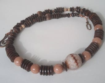 Beautiful coconut - faceted fire agate and jade on copper necklace.
