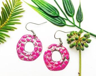 Circle Earrings,Hammered Metal Earrings,Silver Earrings,Tiny Earrings,Pink Earrings,Disc Earrings,Petite Dangle Earrings,Everyday Earrings