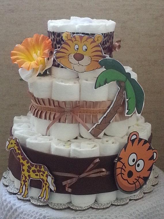3 Tier Diaper Cake Jungle Safari Zoo Animals Baby Shower Gift