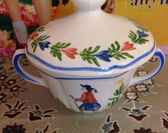Hand painted Longchamp decor inalterable cup with a lid..(Very collectable).. quimper design