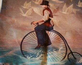 Reduced. Bike, man, birds pillow case