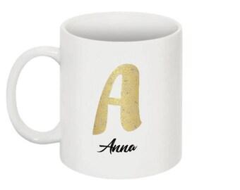 Mug - personalized mug - gift - gold mug - mug initial name