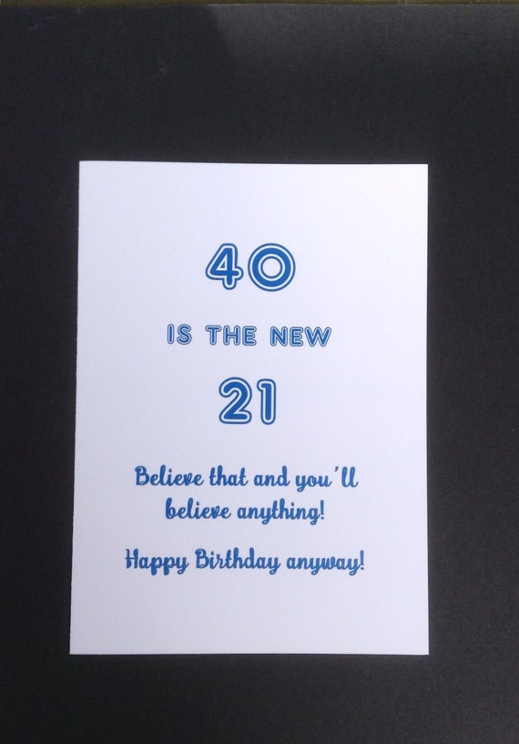 40th Birthday Card Card For 40 Year Old Funny 40th Milestone