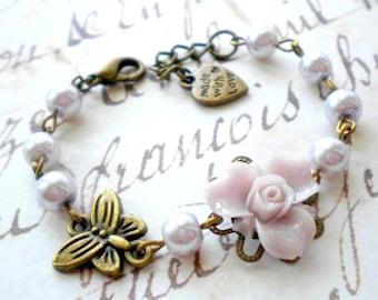 Children Jewelry Flower Girl Gift Baby Girl Jewelry Lavender Pearl Bracelet Flower Girl Jewelry Wedding Gift For Girl Butterfly Bracelet