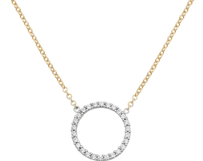"""9ct Yellow Gold 14mm Cz Circle of Life Pendant on 16""""-18"""" Necklace Hallmarked"""