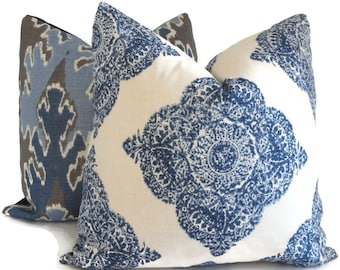 Indigo and White Wood Block Decorative Pillow Cover  18x18, 20x20, 22x22, 14x20 or 12x24  Duralee Mani John Robshaw fabric