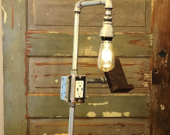 Industrial Galvanized Pipe Lamp with USB Charger/Outlet