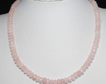 Rose Quartz 5x8mm faceted and 925 Silver 19 inch Necklace