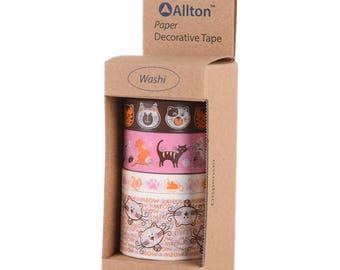 Washi Tape Set - Cat Washi Tape - Kitty Washi Tape - Animal Washi Tape - Cat Lovers - Planner Washi Tape - Decorative Tape - Allton - 399069