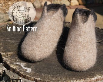 Knitting - pattern - PDF - felt - slippers - male - adult - man - English - felted - icelandic - Lopi