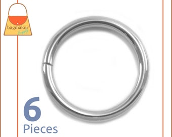 "1-1/2 Inch O Rings, Nickel Finish, 6 Piece Package, Purse Handbag Bag Making Hardware Supplies, 1-1/2"", 1.5 Inch, 1.5"", RNG-AA171"