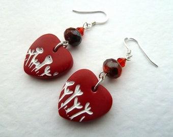 red heart polymer clay earrings, UK handmade jewellery