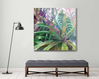 large original painting, green painting, plant painting, contemporary painting, botanical art, tropical painting , large canvas art