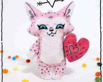 Robin the Love Cat - Illustrated cat doll  - Soft Minky plush stuffed animal