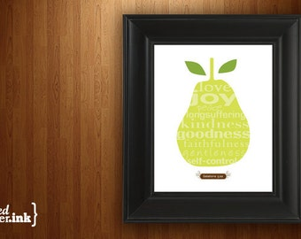 Wall Art - Fruits of the Spirit (brown and green with pear design) Galatians 5:22 - 5 x 7 Print