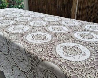 Crochet Tablecloth. Lace Tablecloth. Embroidered  Banquet Tablecloth. Vintage Embroidered  Linen Tablecloth with Ecru Crochet Lace. RBT2800
