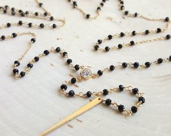 Black Spinel Spike Rosary
