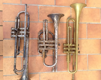 Set of 3 old trumpets Couesnon 2 and 1 German for parts or restore