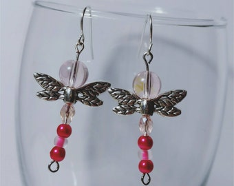 Pink dragonfly earrings