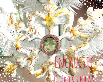 NEW WORKSHOP Merry Christmas Online Encaustic and Etched Copper Bezel Online Workshop Tutorial