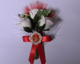 Wedding Reception Ceremony Party Fireman Firefighter Groom's Boutonniere Maltese
