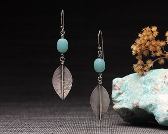 Hammered Leaves with Blue Amazonite