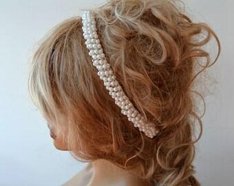 Wedding Headband, Pearl Headband, Bridal Headband,  Wedding Dress Accessory, Wedding Hair Accessory, Bridal Hair Accessory