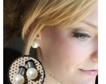 """Pearl 12mm LARGE beige ball wedding plugs tunnels for gauged / stretched ears: 4g, 2g, 1g, 0g, 00g, 7/16"""""""