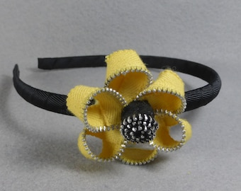 Yellow Flower Headband Made To Order - Upcycled - Recycled - Repurposed - Flower Headband- Zipper Headband- Zipper Flower - Flower Headband