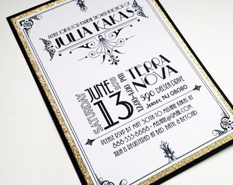 Roaring Twenties Black White and Gold Invitations