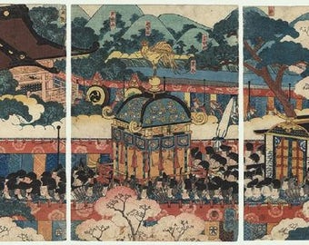 Original Triptych engraved Japanese by Utagawa Yoshitsuya (1822-1866). Japan. Nineteenth century