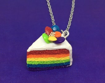 Clay Rainbow Cake Necklace - Cute Polymer Clay Food Charm - Handmade Bakery Jewelry - Colorful Sweets Nevklace - Miniature Cake Pendant