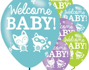 Woodland Baby Balloons - 11'' Latex-Welcome baby balloons-New baby-Cute baby balloons