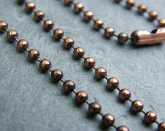 Copper ball chain ~ Antique copper chain ~ Copper necklace ~ Solid copper chain ~ UK supplier ~ 2.4mm copper necklace ~ 18 inch