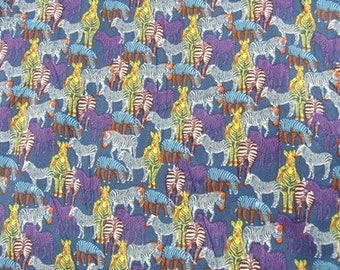Blue and purple Zebra - print cotton fabric