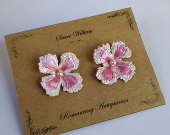 Pink/White Flower Silver Earring Studs Handcrafted Floral Jewelry