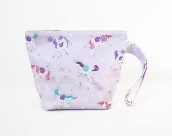Unicorn knitting project bag, small sock knitting bag, mother's day gift, purple crochet project bag, yarn storage tote
