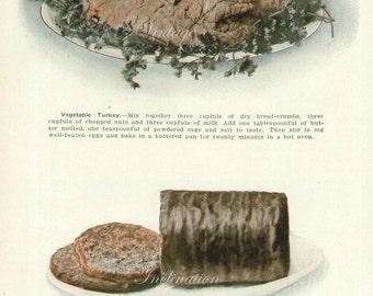 1911, Edwardian Vegetarian Food, vegetables wall art print, 100 years old