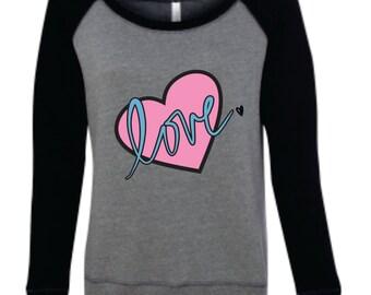 Heart Love Off Shoulder Sweatshirt