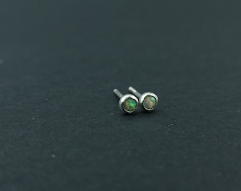 Small Sterling silver opal Studs  Dainty  Delicate Style  Minimalist  Mini  Small earrings  Gift for her Opals 3mm tiny earrings