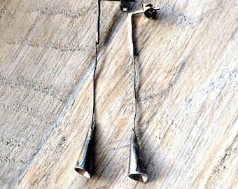 Long Silver Earrings, Silver Jewelry, Sterling Silver Earrings, Raw Silver earrings, Hammered silver, Long earrings,