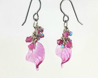 SALE! Pink Leaf Cluster Earring
