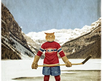 Montreal Canadiens Print Hockey Art Montreal Quebec Habs Print Cat Print Cat Art Lake Louise Hockey Gifts - The Montreal Catadiens