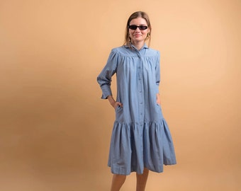 Vintage Chambray Dress / Vintage 90s Dress / Ruffle Hem Dress / 90s Minimal Dress Δ size: XS/S
