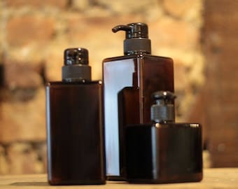 Full Set 250 mL, 450 mL, 650 mL Muji-Like Refillable Pump Plastic Bottles Amber New