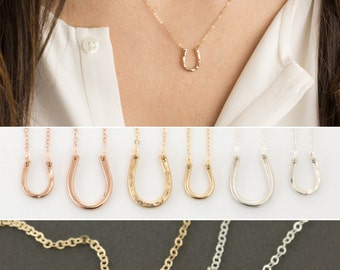 Tiny Horseshoe Necklace / Delicate Chain in 14k Gold Fill, Rose Gold Fill , Sterling Silver / Dainty Horseshoe Layered Long LN119_9 LN119_13