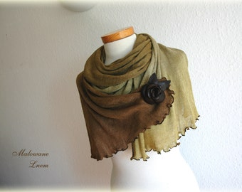 Brown Green Scarf With LINEN Knitted Hand Dyed Decorated By Brown Leather Rose Eco Friendly Clothing Natural
