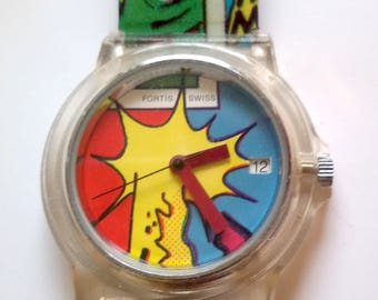 Rare Vintage Fortis Swiss Comic watch, Quarz,NEW old stock, 90ties, from jeweler's dissolution